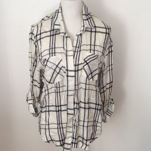 Velvet Heart Plaid Shirt- White/Blue